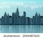paper skyscrapers. achitectural ... | Shutterstock .eps vector #1044487633