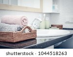 stack of towels  in the... | Shutterstock . vector #1044518263