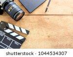 film director's desk. clapboard ... | Shutterstock . vector #1044534307