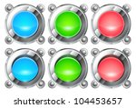 realistic colorful metal buttons | Shutterstock . vector #104453657
