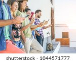 young people watching on their... | Shutterstock . vector #1044571777