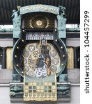 Detail of the famous Jugendstil Ankeruhr in Vienna - stock photo