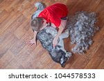 concept of spring moulting dogs.... | Shutterstock . vector #1044578533