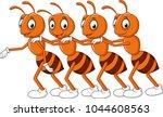 cartoon line of worker ants  | Shutterstock .eps vector #1044608563