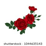 beautiful bouquet with red... | Shutterstock . vector #1044635143