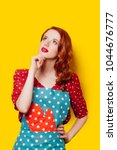 redhead housewife with gloves...   Shutterstock . vector #1044676777