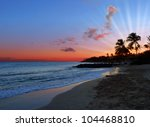 Peaceful Bright Sunset on Exotic Caribbean Beach - stock photo