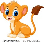 cute baby lion cartoon  | Shutterstock .eps vector #1044708163