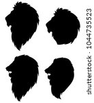 set of silhouettes of a lion... | Shutterstock .eps vector #1044735523