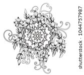 floral pattern in black and...   Shutterstock .eps vector #1044757987