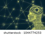 silhouette of a man's head with ... | Shutterstock . vector #1044774253