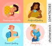 motherhood icons set with baby... | Shutterstock .eps vector #1044782383