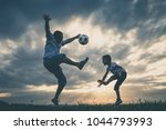 father and young little boy... | Shutterstock . vector #1044793993
