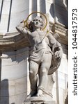 Small photo of BUDAPEST, HUNGARY - OCTOBER 15: Statue of Saint Sebastian, detail of Holy Trinity plague column in front of Matthias Church in Budapest, Hungary, on October 15, 2017.
