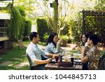 afternoon party  barbecue and... | Shutterstock . vector #1044845713