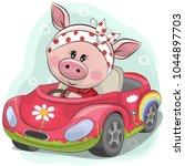 cute cartoon piggy girl goes on ... | Shutterstock .eps vector #1044897703