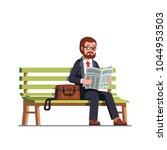 business man reading newspaper... | Shutterstock .eps vector #1044953503