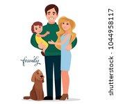 a happy family. vector...   Shutterstock .eps vector #1044958117