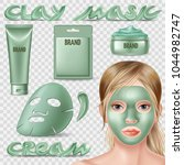 set of clay mask and scrub.... | Shutterstock .eps vector #1044982747