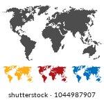 world map black yellow red blue ... | Shutterstock .eps vector #1044987907