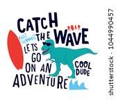 surfer dinosaur vector design... | Shutterstock .eps vector #1044990457