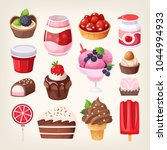 set of various tasty sweets and ... | Shutterstock .eps vector #1044994933