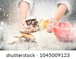 young male hands of cook chef... | Shutterstock . vector #1045009123