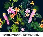tropical seamless pattern with... | Shutterstock .eps vector #1045030687