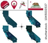 vector map of california with... | Shutterstock .eps vector #1045033537