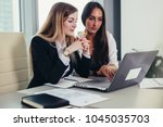 two female accountants working... | Shutterstock . vector #1045035703