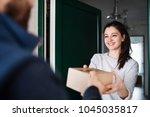 woman receiving parcel from... | Shutterstock . vector #1045035817