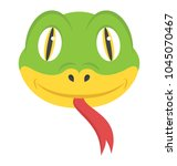 a smiling face of serpent with...   Shutterstock .eps vector #1045070467