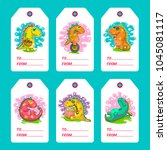 cool dino doodle vector cards.... | Shutterstock .eps vector #1045081117