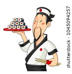 japanese cook with sushi.... | Shutterstock .eps vector #1045094257