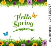 grass and flowers border with... | Shutterstock . vector #1045103017