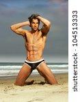 sexy male model in fashion... | Shutterstock . vector #104513333