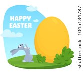 surprised rabbit looking at a...   Shutterstock .eps vector #1045134787