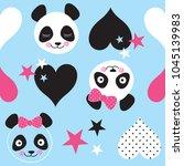 seamless panda bear pattern... | Shutterstock .eps vector #1045139983