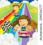 illustration of kids racing on... | Shutterstock .eps vector #104516177