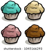 cartoon colorful chocolate cake ... | Shutterstock .eps vector #1045166293