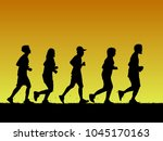 silhouette sport running on... | Shutterstock .eps vector #1045170163