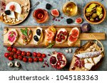 appetizers table with italian... | Shutterstock . vector #1045183363