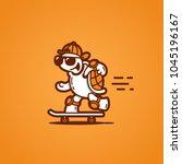 funny turtle on a skateboard....   Shutterstock .eps vector #1045196167