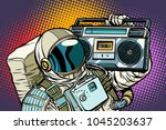 astronaut with boombox  audio... | Shutterstock .eps vector #1045203637