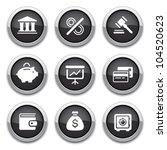 black shiny finance buttons for ... | Shutterstock .eps vector #104520623