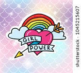 girl power heart with lgbt... | Shutterstock .eps vector #1045215607