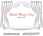 world theatre day greeting card ... | Shutterstock . vector #1045223797