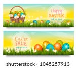 two easter sale banners.... | Shutterstock .eps vector #1045257913