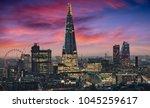 the illuminated skyline of... | Shutterstock . vector #1045259617