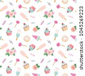 festive pattent with flowers... | Shutterstock . vector #1045269223